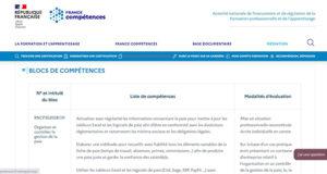 RNCP - blocs de compétences - exemple