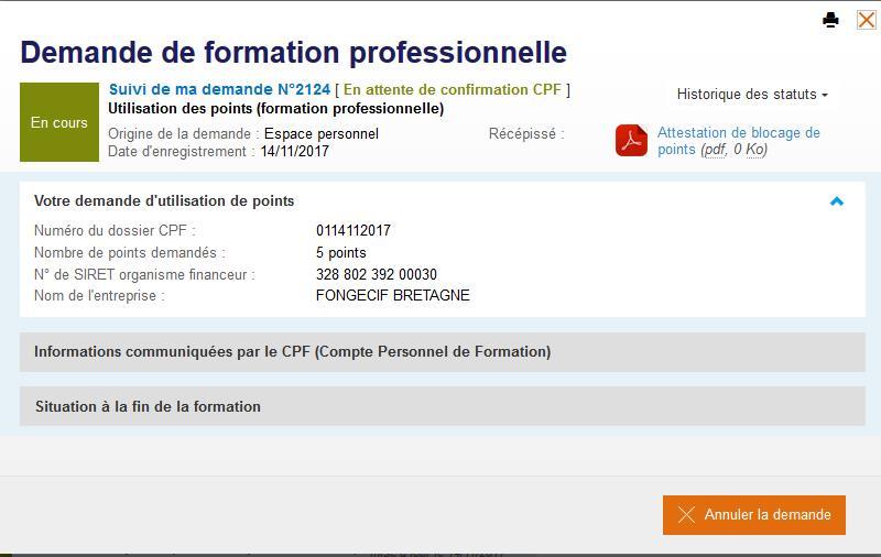 C2P - attestation de réservation de points