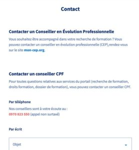 C2P - contacter un conseiller CPF